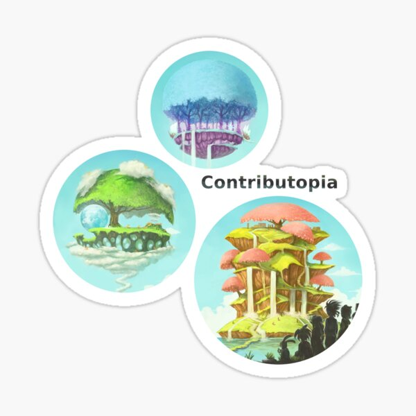 Contributopia (with title and planets in bubbles) Sticker