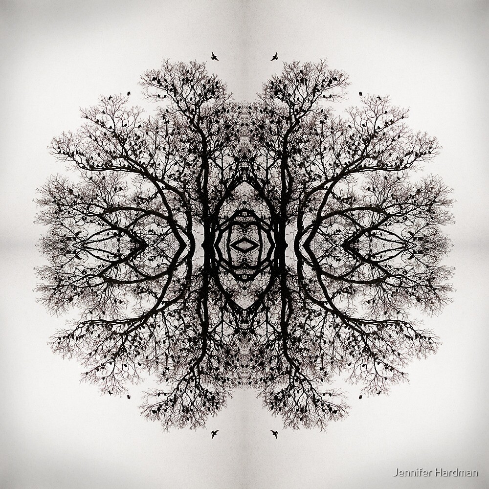 Winter Storm Tree Ink Blot by Jennifer Black