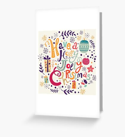 Have A Holy Jolly Christmas Text Design Greeting Card