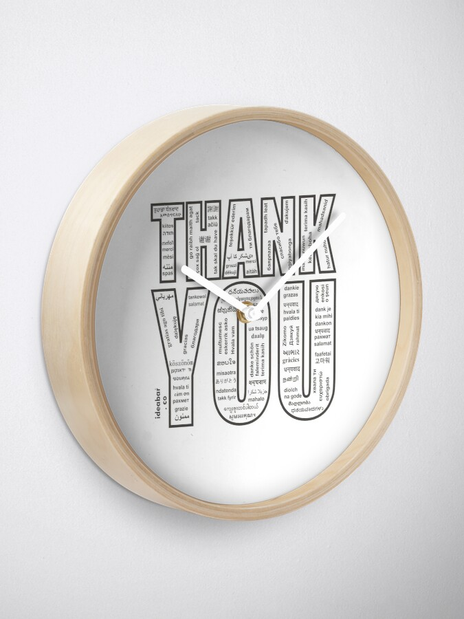 Alternate view of THANK YOU in All 104 Languages in one place Clock