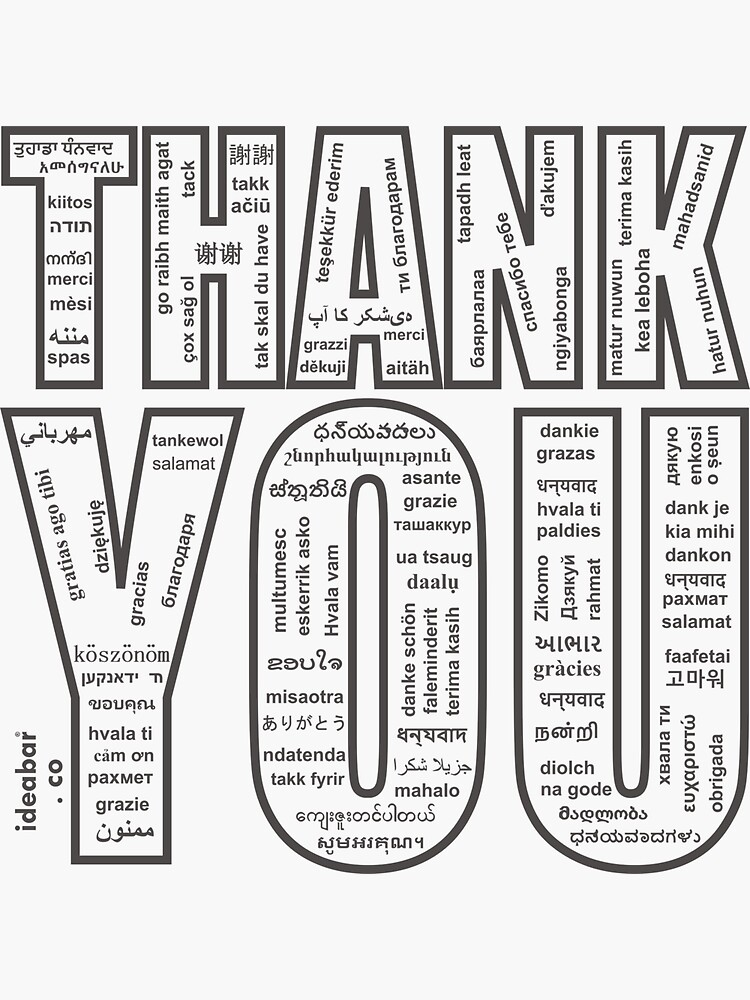 THANK YOU in All 104 Languages in one place by IDEABAR