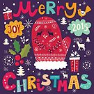 Colorful Retro Christmas Knit And Text Design by artonwear