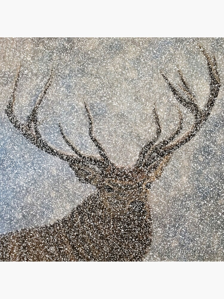 Not Afraid of the Snow - Stag in Heavy Snow - Wall Art by EuniceWilkie