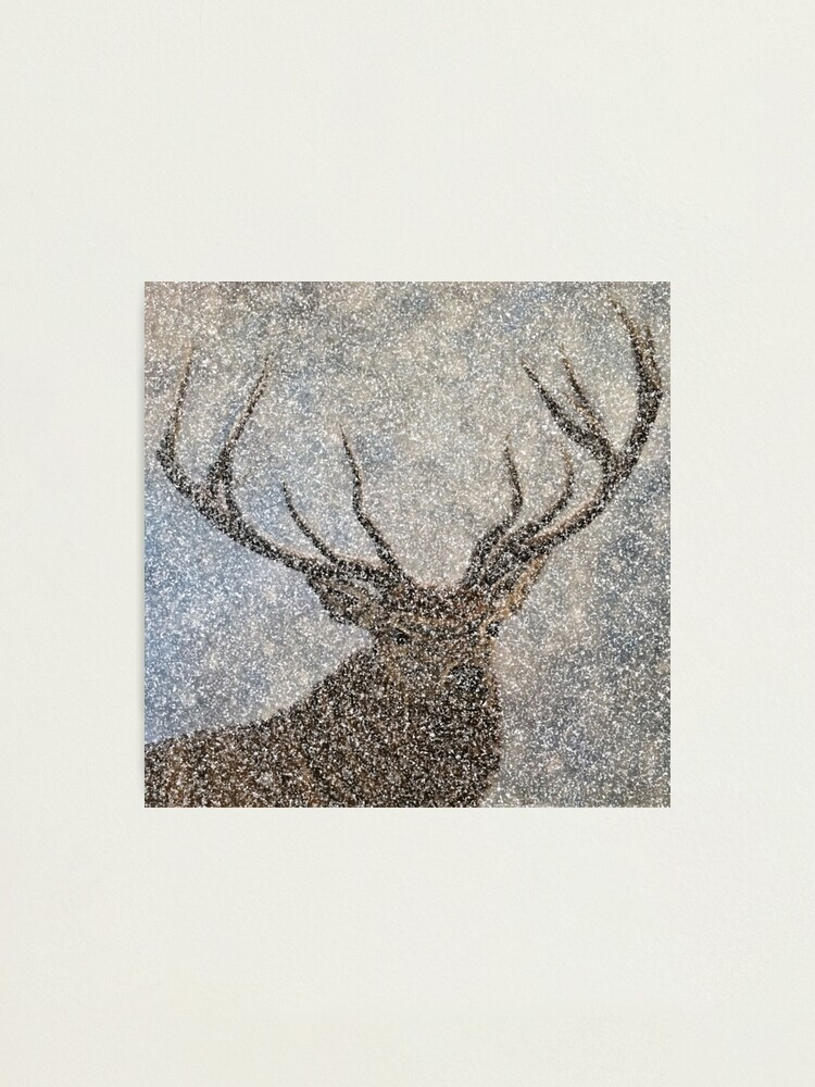 Alternate view of Not Afraid of the Snow - Stag in Heavy Snow - Wall Art Photographic Print