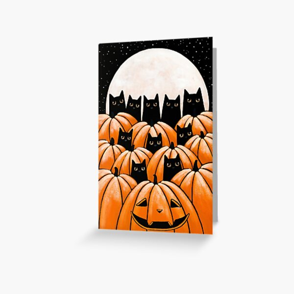 Black Cats in the Pumpkin Patch Greeting Card