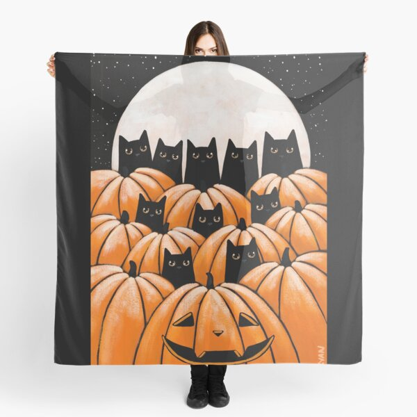 Black Cats in the Pumpkin Patch Scarf