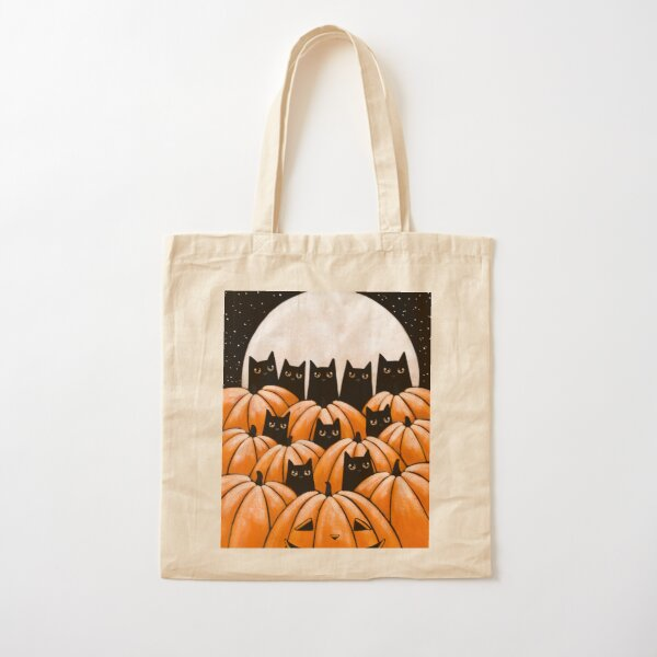 Black Cats in the Pumpkin Patch Cotton Tote Bag