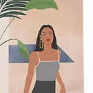Today's Mood, woman illustration, desert illustration, tropical illustration, fashion illustration by uzualsunday