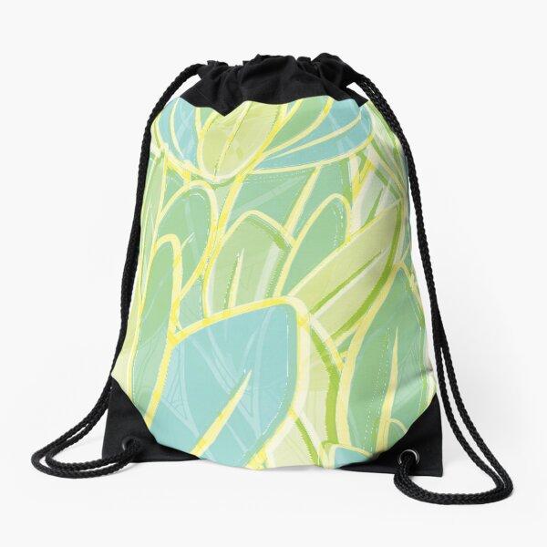 Pastel Leaves Drawstring Bag