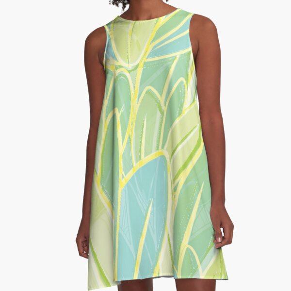 Pastel Leaves A-Line Dress