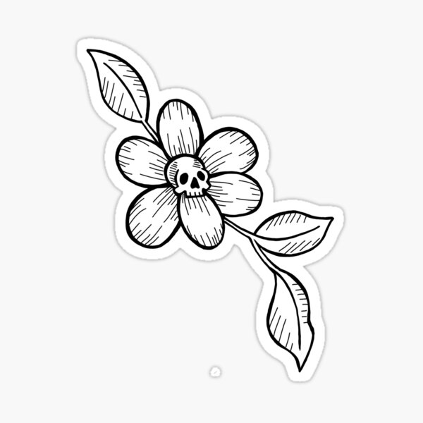 Skully Flower Sticker