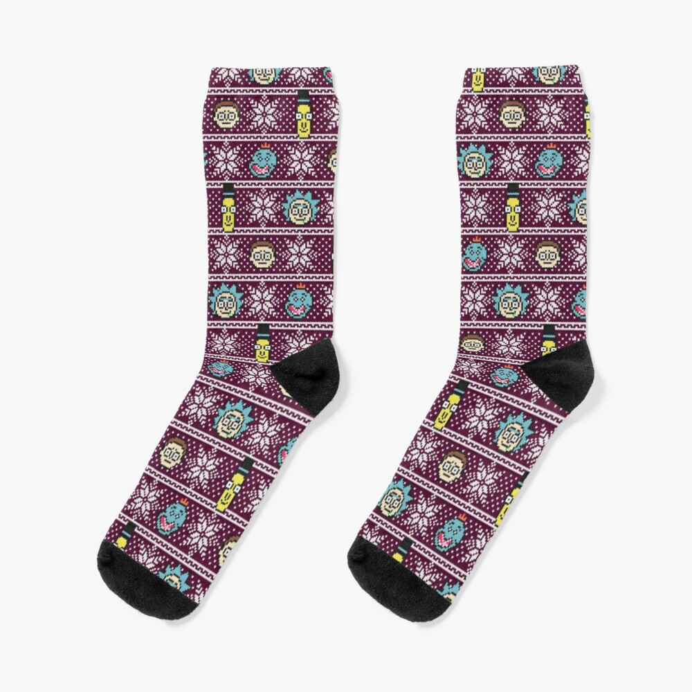 Rick and Morty christmas sweater Socks