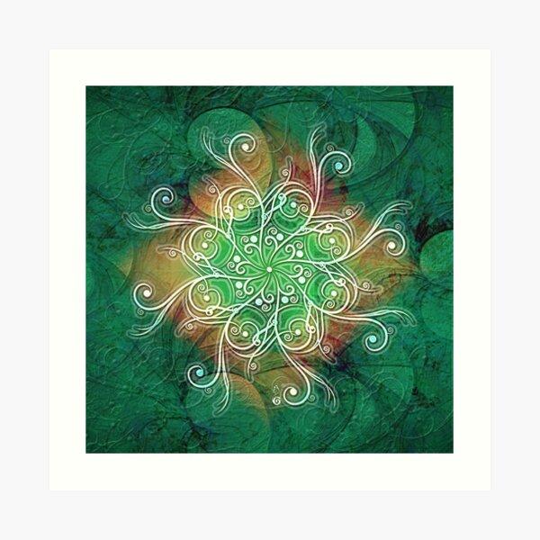 Green ornament flower Art Print