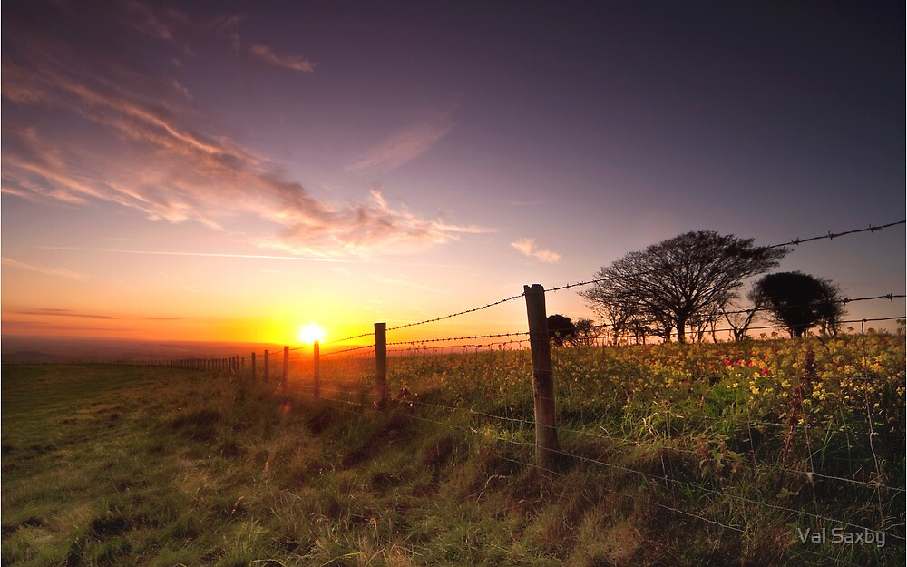 Sunset at Fontmell Down by Val Saxby