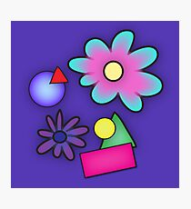 RETRO-Vibrant 80s Abstract Shapes & Flowers Photographic Print
