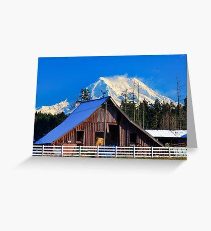Mount Rainier and Barn Greeting Card