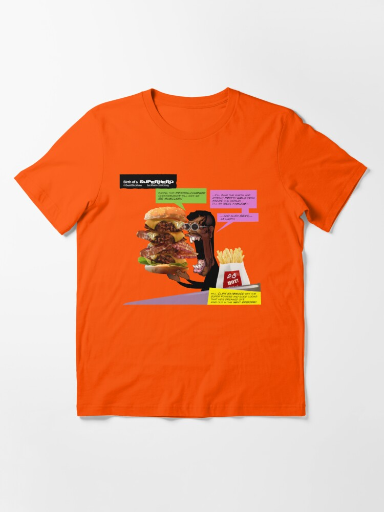 Alternate view of Clint Eatswould Birth of a Superhero Cheeseburger Man Essential T-Shirt