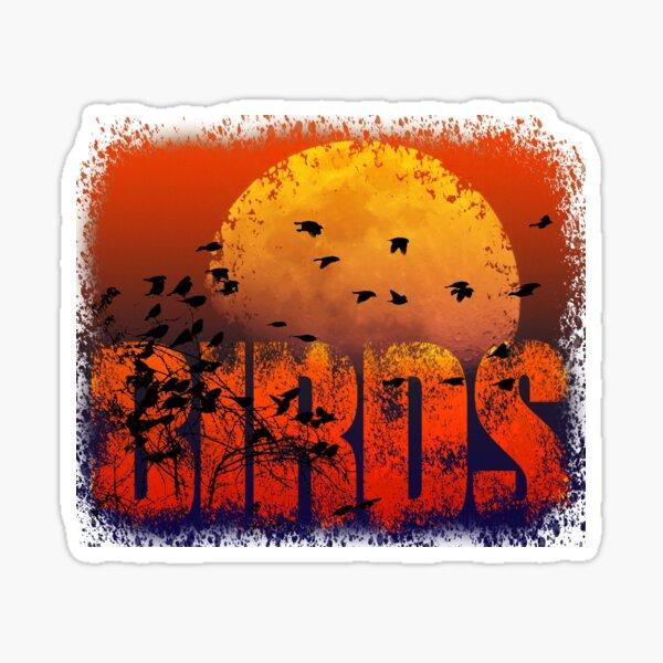 Birds with orange Moon Sticker