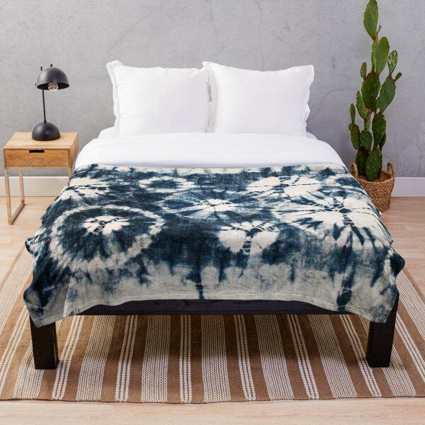 Shibori, Indigo, Circles, Tie Dye Throw Blanket