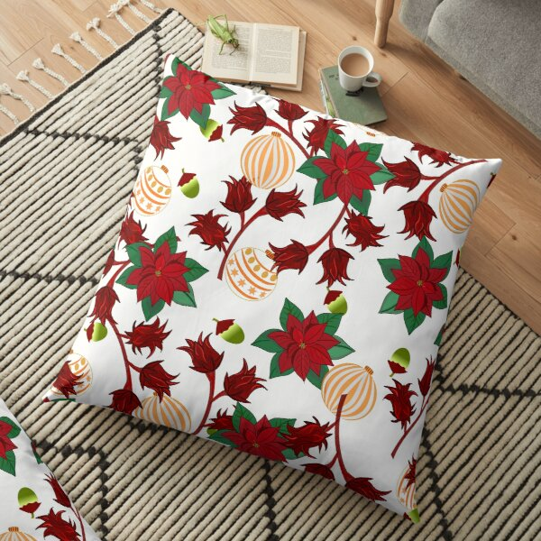 Sorrel and Poinsettia for Christmas Floor Pillow