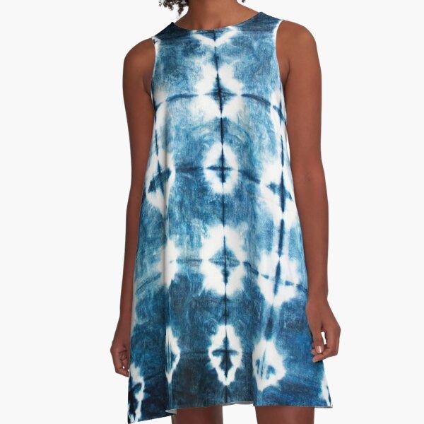 Shibori Indigo Tie Dye A-Line Dress