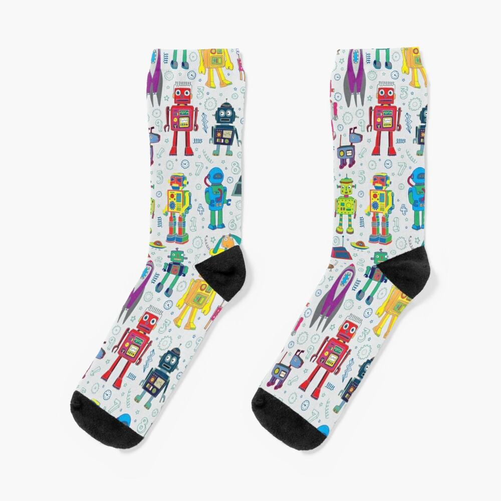 Robots in Space - grey - fun Robot pattern by Cecca Designs Socks