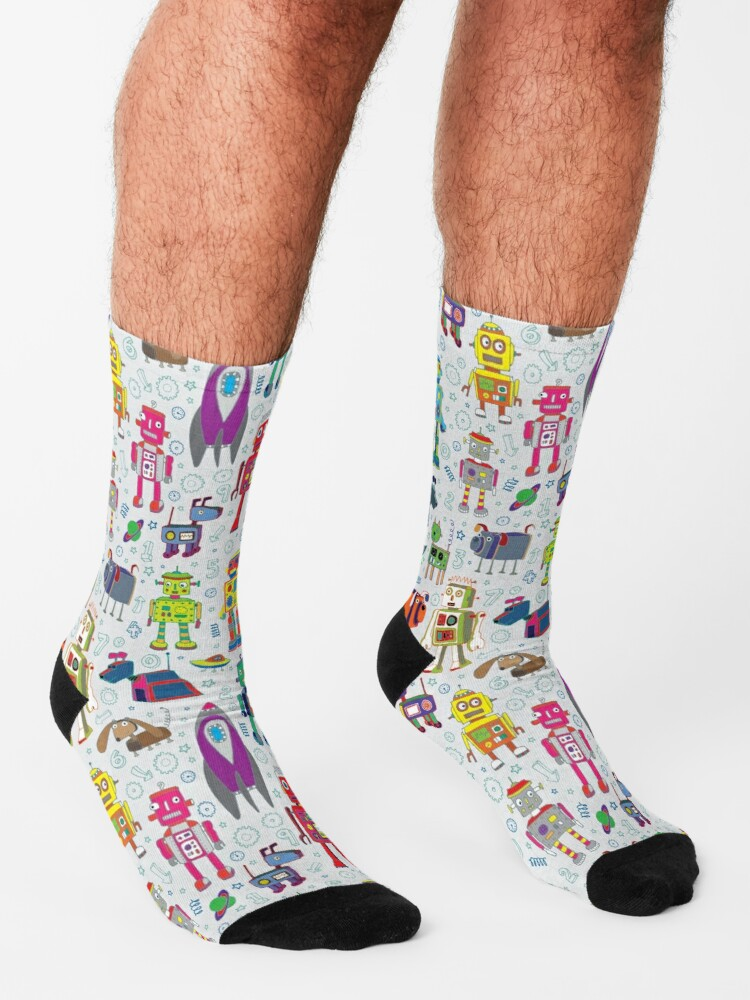 Alternate view of Robots in Space - grey - fun Robot pattern by Cecca Designs Socks