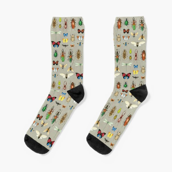 The Usual Suspects - Insects on grey - watercolour bugs pattern by Cecca Designs Socks