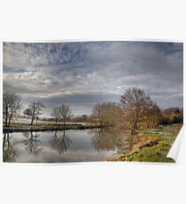 Winter walk along the river Medway at Teston Kent England Poster