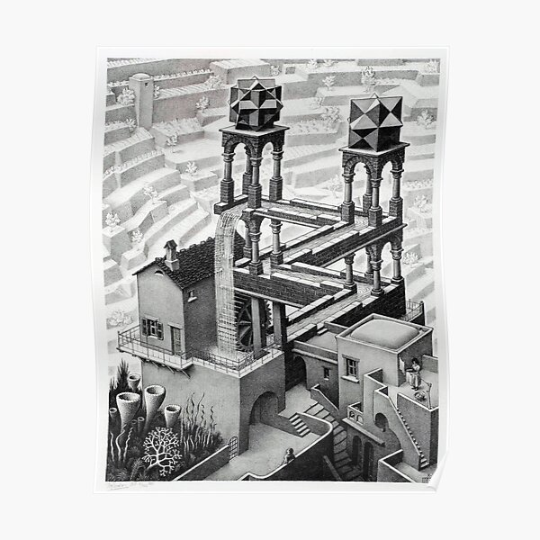 MC Escher Waterfall 1961 Artwork for Posters Prints Tshirts Men Women Kids Poster