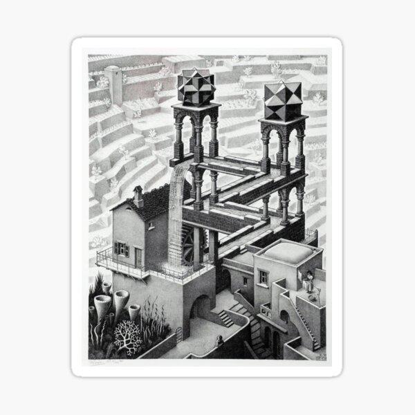 MC Escher Waterfall 1961 Artwork for Posters Prints Tshirts Men Women Kids Sticker