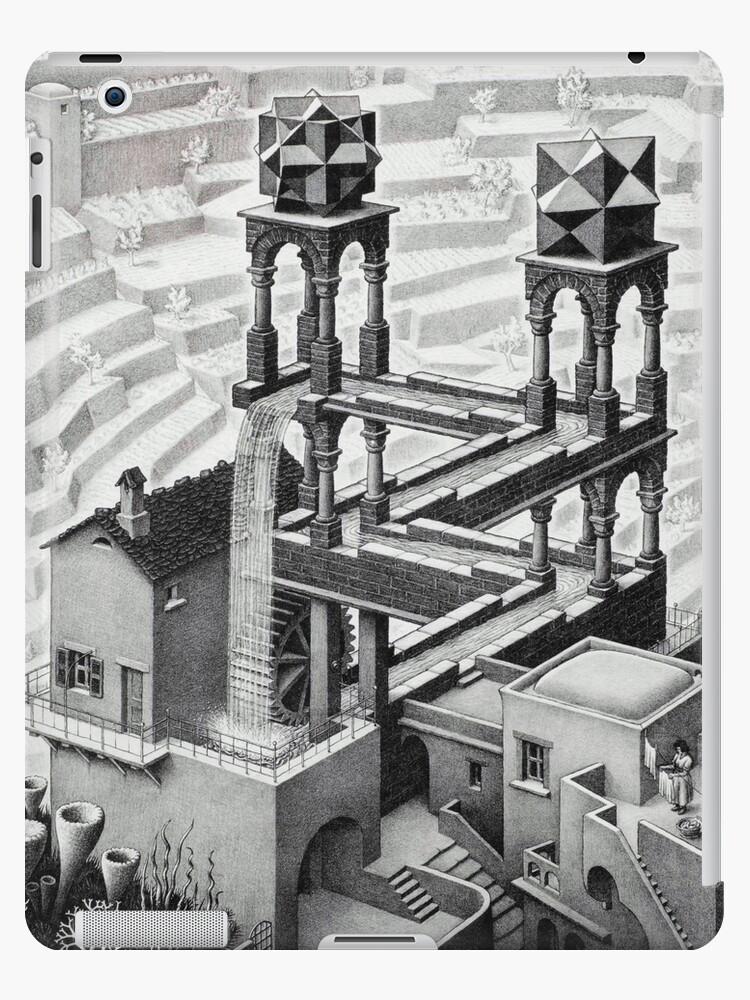 Mc Escher Waterfall 1961 Artwork For Posters Prints Tshirts Men Women Kids Ipad Case Skin By Clothorama Redbubble
