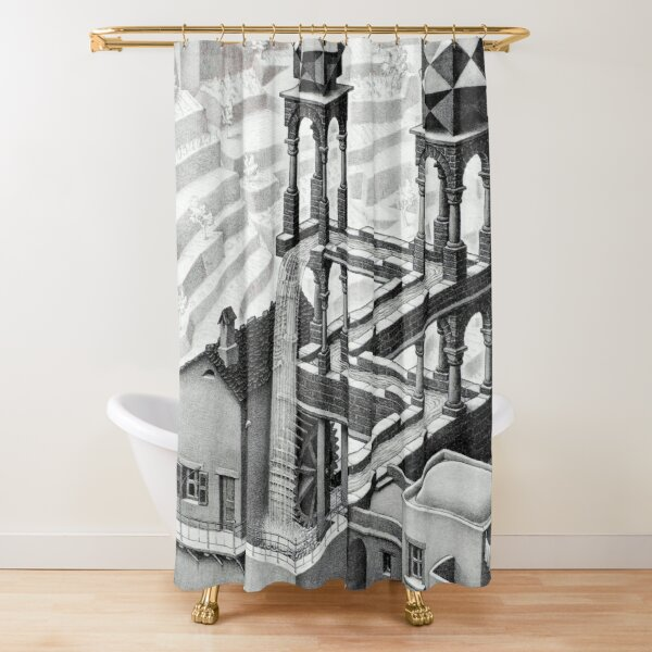 MC Escher Waterfall 1961 Artwork for Posters Prints Tshirts Men Women Kids Shower Curtain