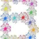 Buchstabe B aus Blumen, floral, Kosmee Blüten von rhnaturestyles
