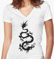 Totemic dragon Women's Fitted V-Neck T-Shirt