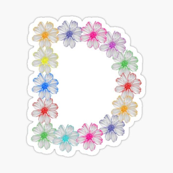 Buchstabe D aus Blumen, floral, Kosmee Blüten Sticker