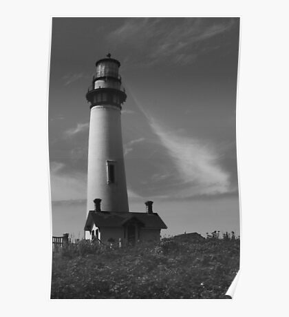 Lighthouse in B&W Poster
