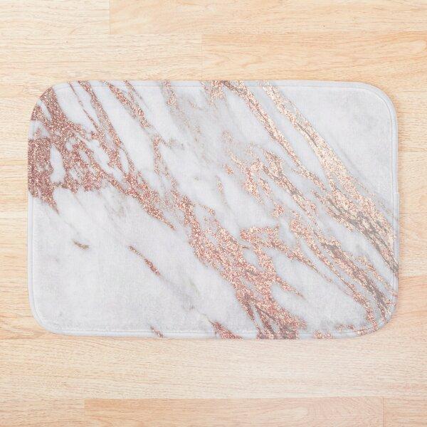 Blush pink rose gold marble Bath Mat
