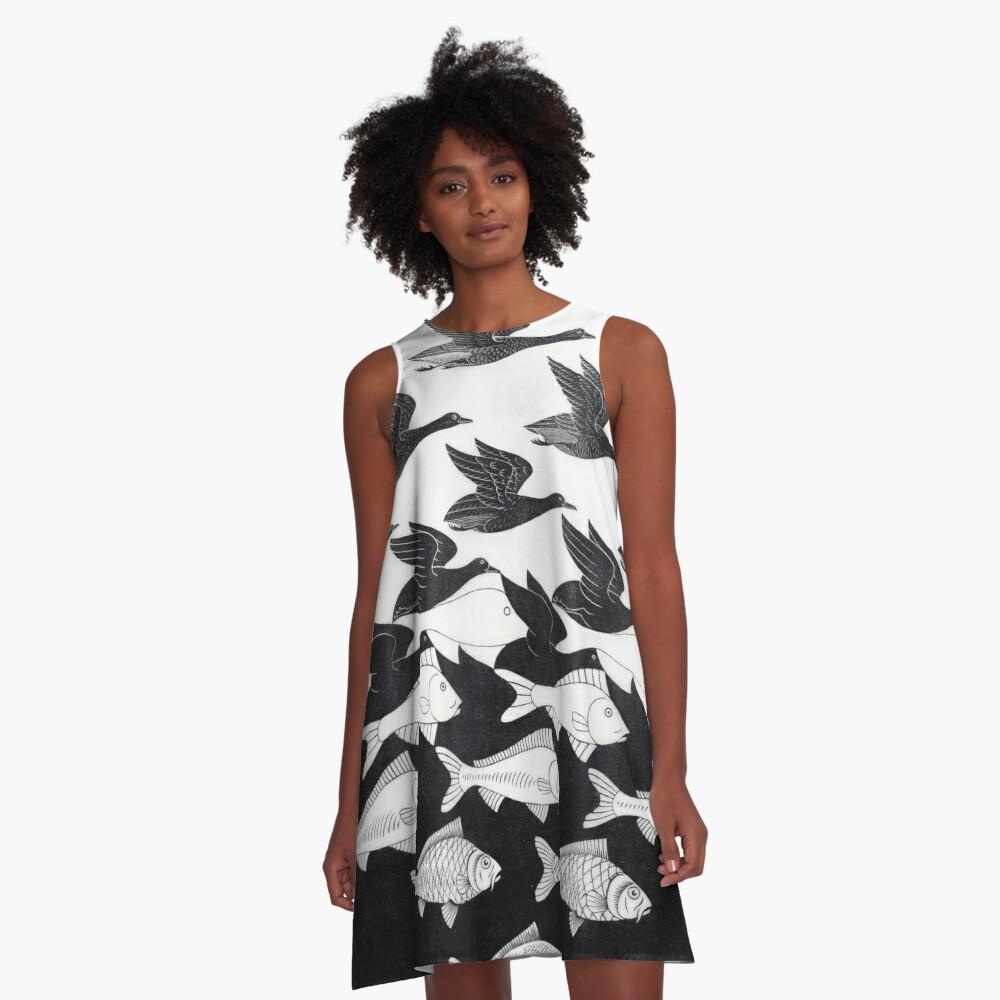 MC Escher Sky and Water I 1938 Artwork for Posters Prints Tshirts Men Women Kids A-Line Dress