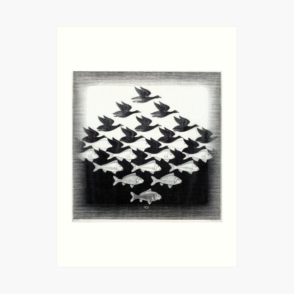 MC Escher Sky and Water I 1938 Obra para carteles Impresiones Camisetas Hombres Mujeres Niños Lámina artística