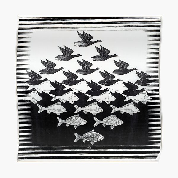 MC Escher Sky and Water I 1938 Artwork for Posters Prints Tshirts Men Women Kids Poster