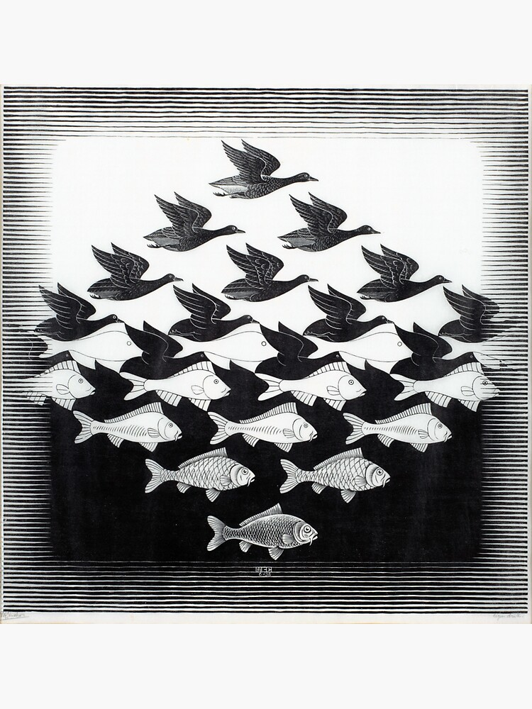 MC Escher Sky and Water I 1938 Artwork for Posters Prints Tshirts Men Women Kids by clothorama