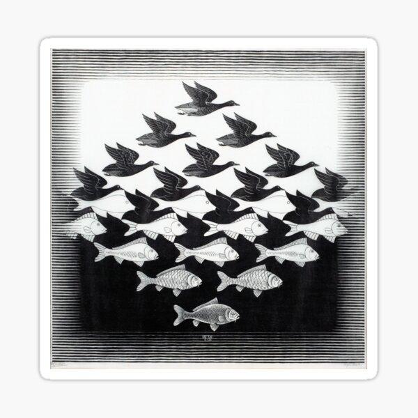 MC Escher Sky and Water I 1938 Artwork for Posters Prints Tshirts Men Women Kids Sticker