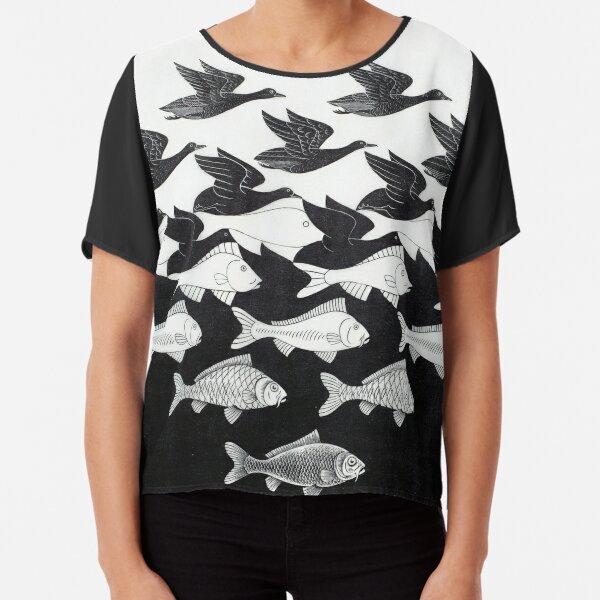 MC Escher Sky and Water I 1938 Artwork for Posters Prints Tshirts Men Women Kids Chiffon Top