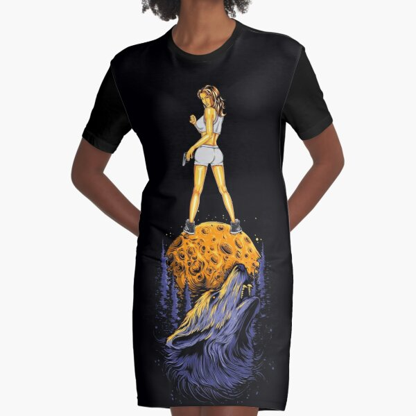 Wolf mum on the moon. Graphic T-Shirt Dress