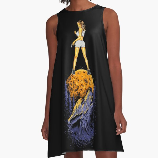 Wolf mum on the moon. A-Line Dress