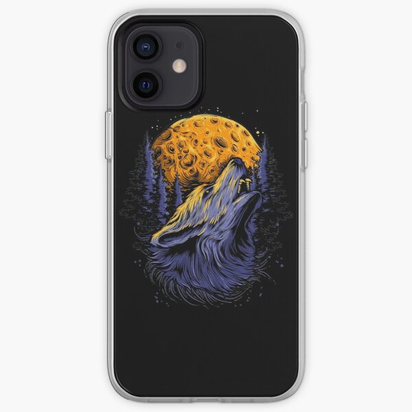 Wolf and the moon. iPhone Soft Case