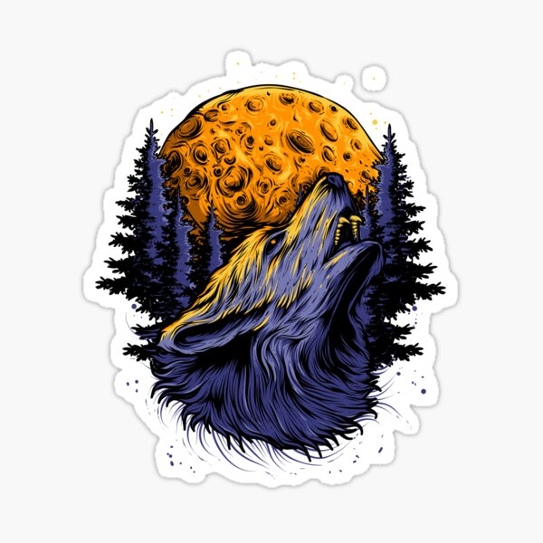 Wolf and the moon. Sticker