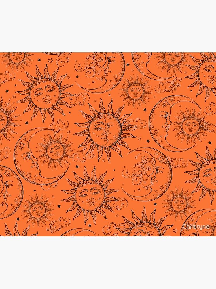 Orange Magic Celestial Sun Moon Stars by Christyne