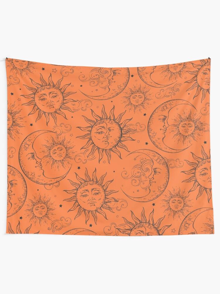 Alternate view of Orange Magic Celestial Sun Moon Stars Tapestry